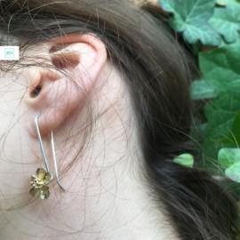Aranyvirágos Pilisi len lógós ezüst fülbevaló
