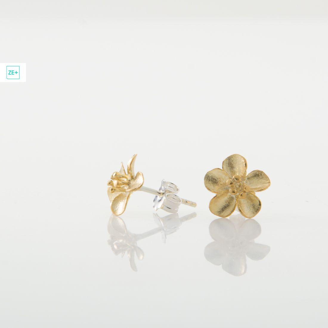 Aranyvirágos Pilisi len ezüst fülbevaló